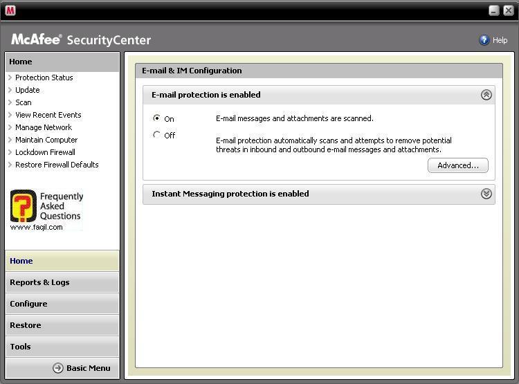 הגדרות  סריקה אימייל,מרכז האבטחה של מקאפי (Mcafee SecurityCenter)