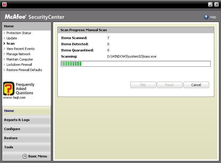 מסך הסריקה יופיע,מרכז האבטחה של מקאפי (Mcafee SecurityCenter)