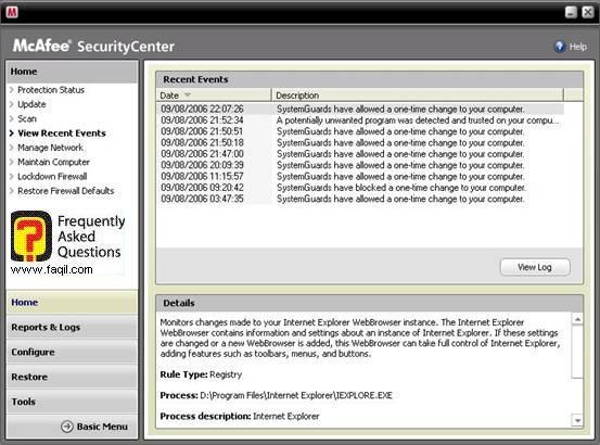 דוח סריקה,מרכז האבטחה של מקאפי (Mcafee SecurityCenter)