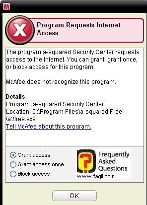 כאשר אתם מפעילים תוכנית, יופיע לכם , הודעה זו  מחומת אש,מרכז האבטחה של מקאפי (Mcafee SecurityCenter)