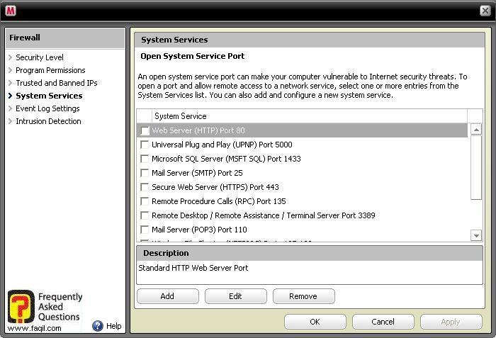 לשונית System Services,מרכז האבטחה של מקאפי (Mcafee SecurityCenter)