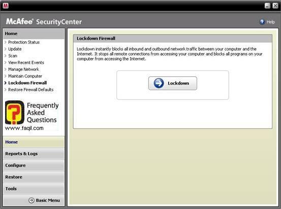 אם ברצונכם לחסום את האינטרנט זמנית,מרכז האבטחה של מקאפי (Mcafee SecurityCenter)