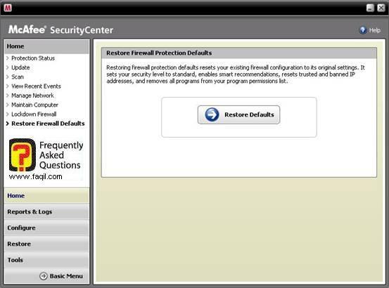 לשונית Restore Firewall Defaults,מרכז האבטחה של מקאפי (Mcafee SecurityCenter)