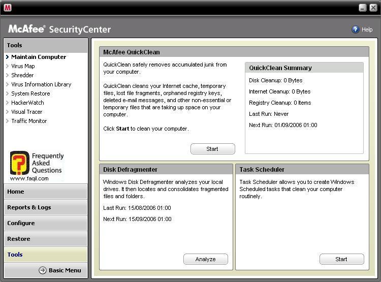 כלי מקאפי ,מרכז האבטחה של מקאפי (Mcafee SecurityCenter)