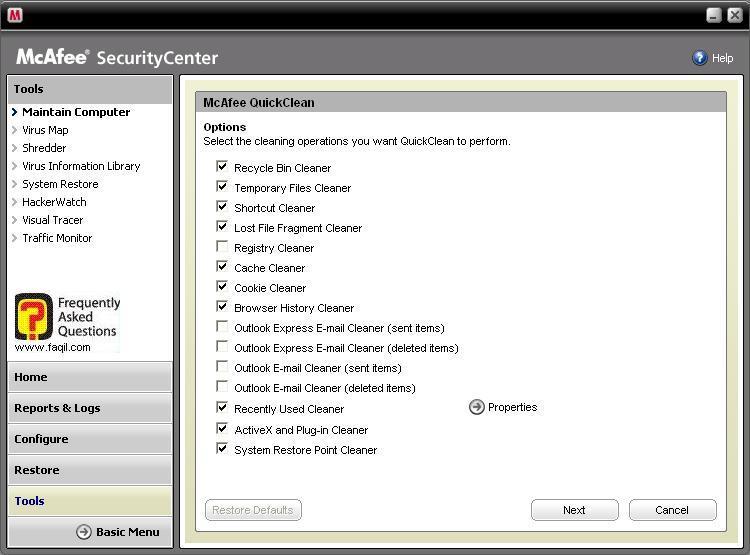 ניתן לבחור מה ינוקה ,מרכז האבטחה של מקאפי (Mcafee SecurityCenter)