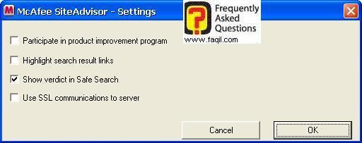 הגדרות של הבדיקה,מרכז האבטחה של מקאפי (Mcafee SecurityCenter)
