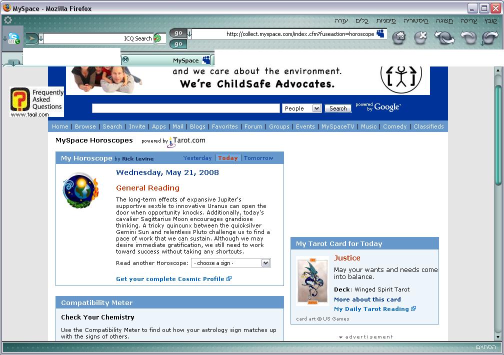 הורוסקופ,הרשת החברתית מיי ספייס
