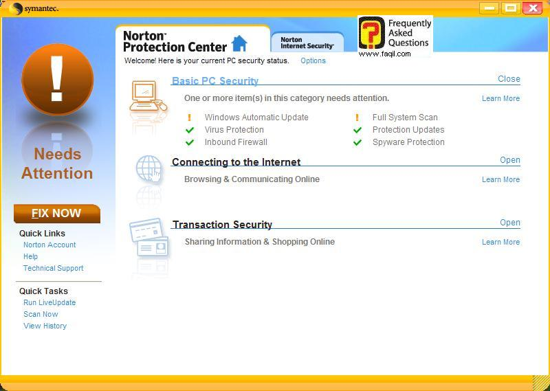 מסך  ראשי,Norton Internet Security 2007