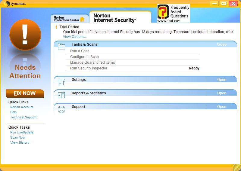 מסך  הגדרות,Norton Internet Security 2007