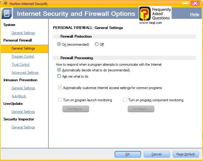 הגדרות כללי,Norton Internet Security 2007
