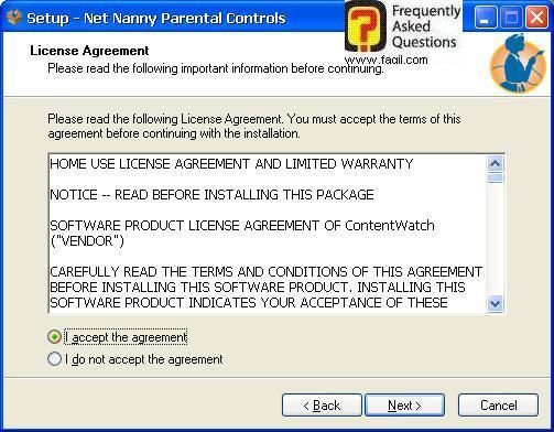 מסך הסכם הרישיון, תוכנת Net Nanny