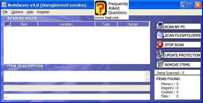 מסך התוכנה,NoAdware 4.0
