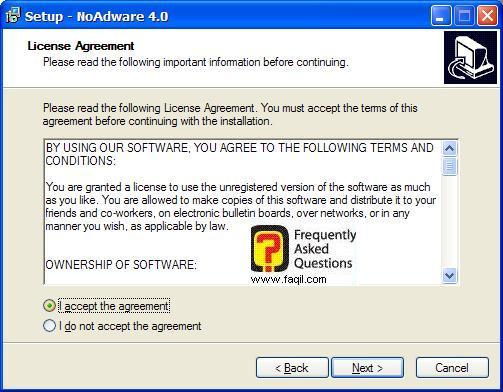 מסך תנאי שימוש  להתקנה,NoAdware 4.0