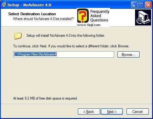 מסך מיקום היעד  להתקנה,NoAdware 4.0