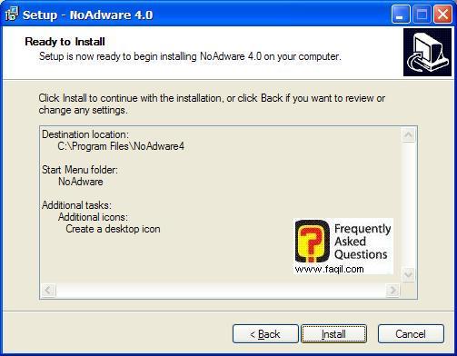 מסך קרא לפני ההתקנה,NoAdware 4.0