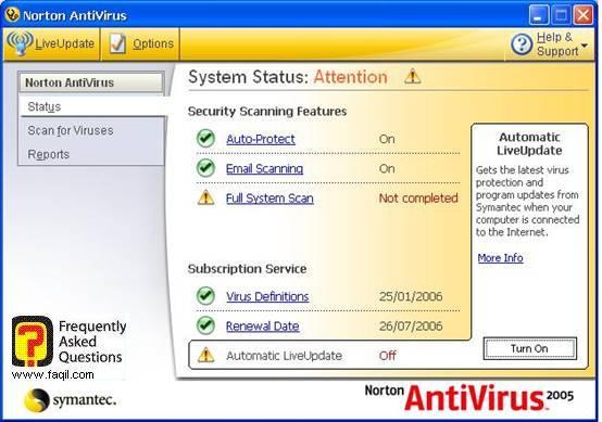 עדכון באופן אוטומטי,האנטיוירוס נורטון 2005|Norton Anti Virus 2005