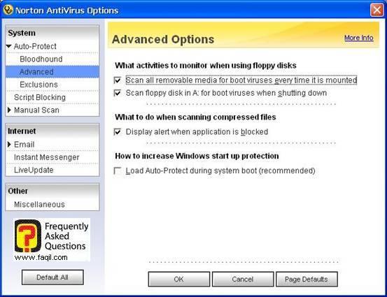 אפשרויות מתקדם,האנטיוירוס נורטון 2005|Norton Anti Virus 2005