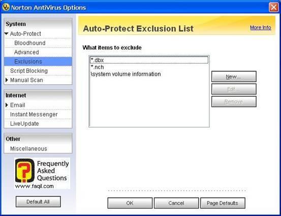 הוספת סיומות קבצים שלא יסרקו,האנטיוירוס נורטון 2005|Norton Anti Virus 2005