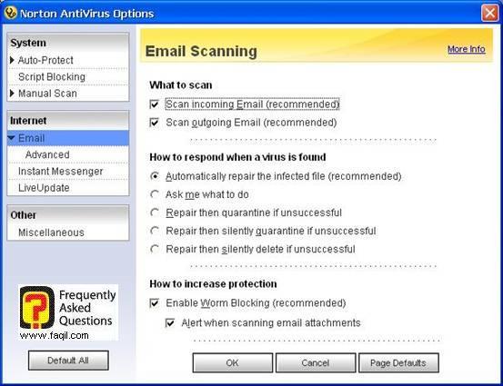 אפשרויות אימייל,האנטיוירוס נורטון 2005|Norton Anti Virus 2005