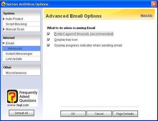 אפשרויות אימייל מתקדמות,האנטיוירוס נורטון 2005|Norton Anti Virus 2005