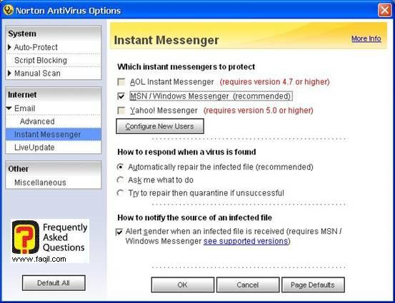 אפשרויות תוכנות מסרים מידיים,האנטיוירוס נורטון 2005|Norton Anti Virus 2005