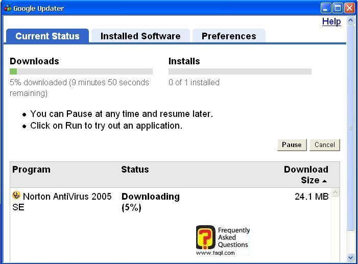 הורדת התוכנה, מGoogle Pack
