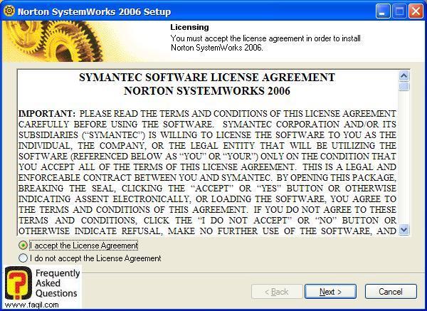 מסך הסכם תנאי שימוש, Norton SystemWorks 2006