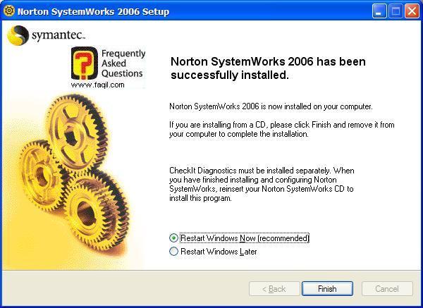 ההתקנה הסתיימה, Norton SystemWorks 2006
