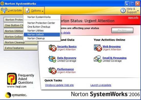 לשונית  Norton GoBack, בNorton SystemWorks 2006
