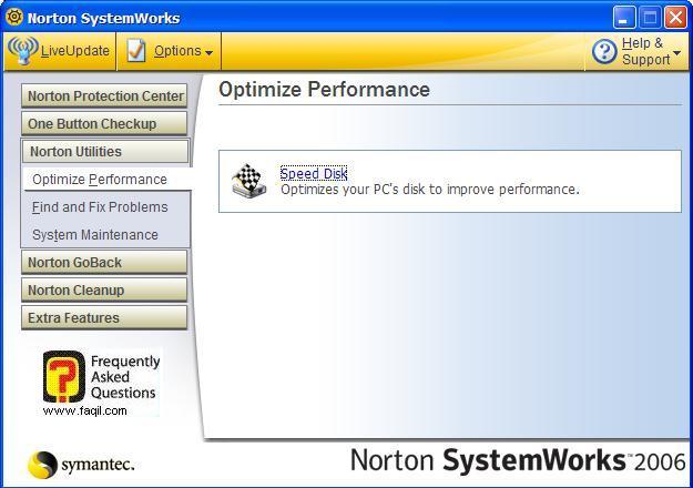 הגעה לשירותSpeed Disk, בNorton SystemWorks 2006