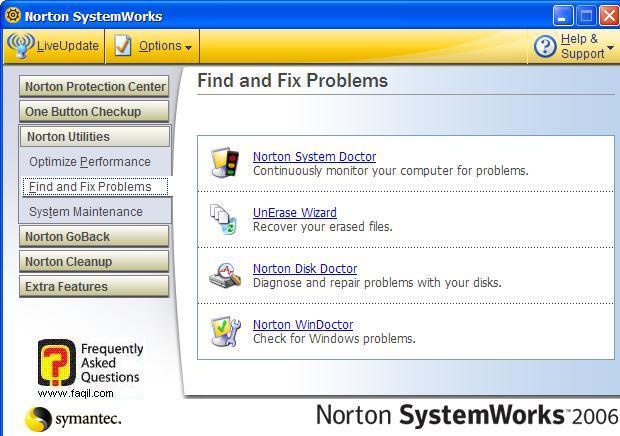 הגעה לשירות Norton System Doctor, בNorton SystemWorks 2006