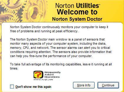 ברוך הבא לשירות Norton System Doctor, בNorton SystemWorks 2006