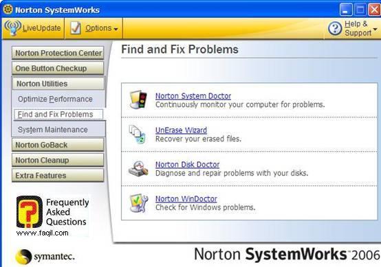 הגעה לFind and Fix Problems, בNorton SystemWorks 2006