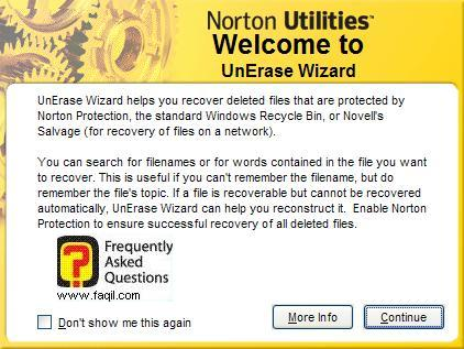 ברוך הבא ל-UnErase Wizard , בNorton SystemWorks 2006