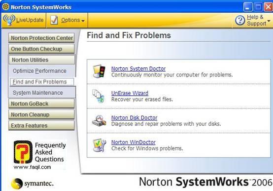 הגעה לכלי Norton WinDoctor , בNorton SystemWorks 2006