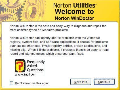 ברוך הבא לNorton WinDoctor , בNorton SystemWorks 2006