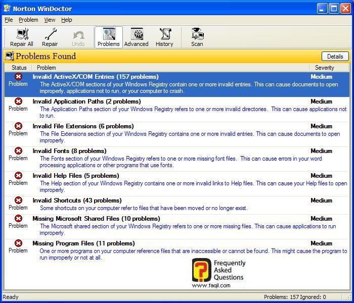 רשימת התקלות , בNorton SystemWorks 2006