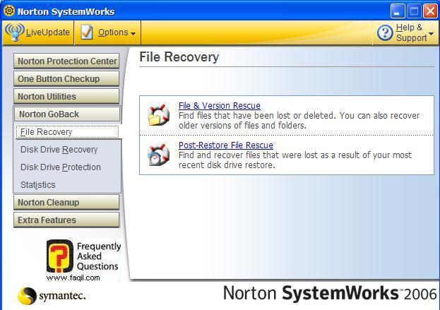 בחירה בFile& Version Rescue , בNorton SystemWorks 2006