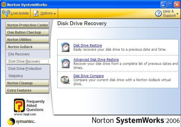 לשונית Disk Drive Recovery, בNorton SystemWorks 2006