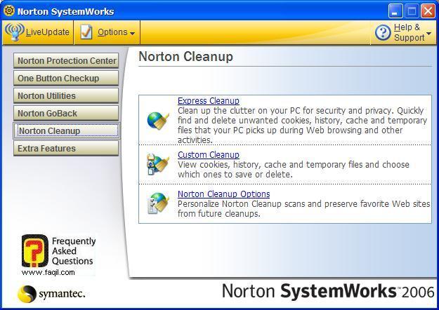 אפשרות Express Cleanup, בNorton SystemWorks 2006