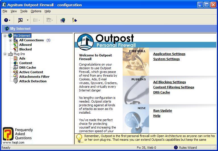 מסך התוכנה, Outpost Firewall