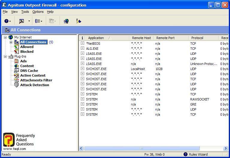 החיבורים הקיימים, Outpost Firewall
