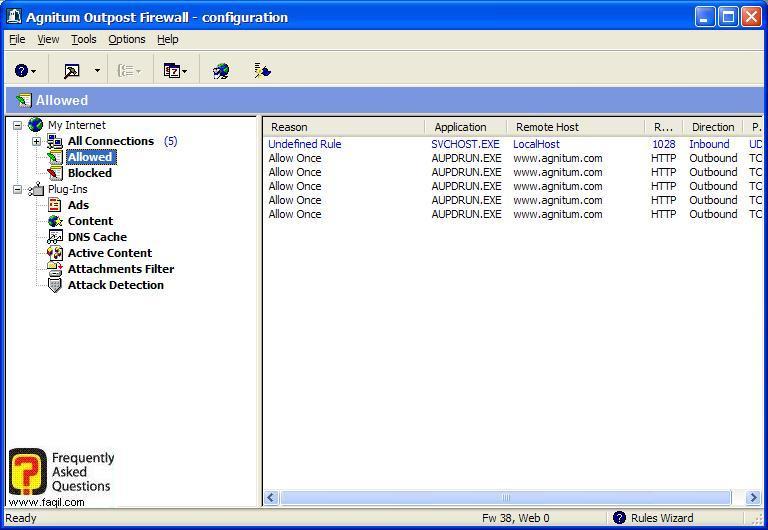 החיבורים המאושרים, Outpost Firewall