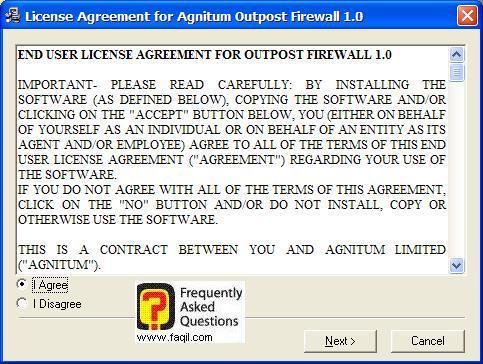 מסך תנאי שימוש להתקנה, Outpost Firewall