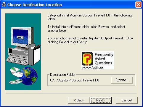 מסך בחירת מיקום היעד  להתקנה, Outpost Firewall
