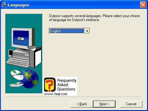 מסך בחירת שפה  להתקנה, Outpost Firewall