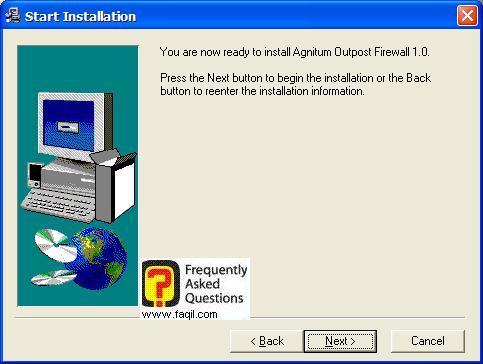מסך קרא לפני  התקנה, Outpost Firewall