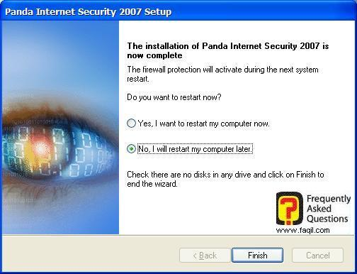 הפעלה מחדש של המחשב,Panda Internet Security 2007