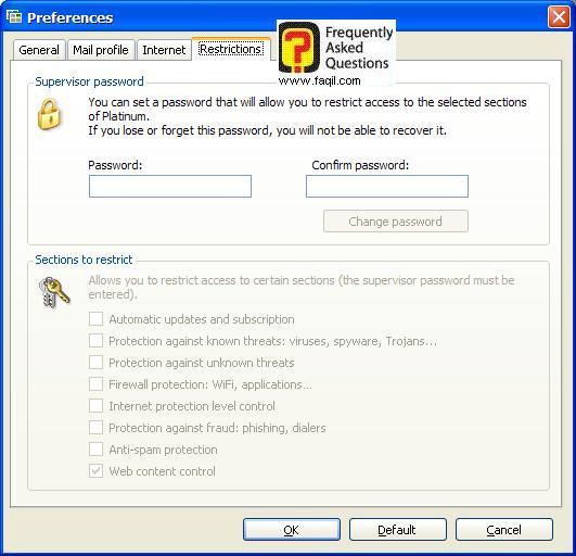 הגדרת סיסמא לתוכנה,Panda Internet Security 2007