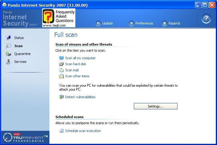 סרוק את כל המחשב,Panda Internet Security 2007